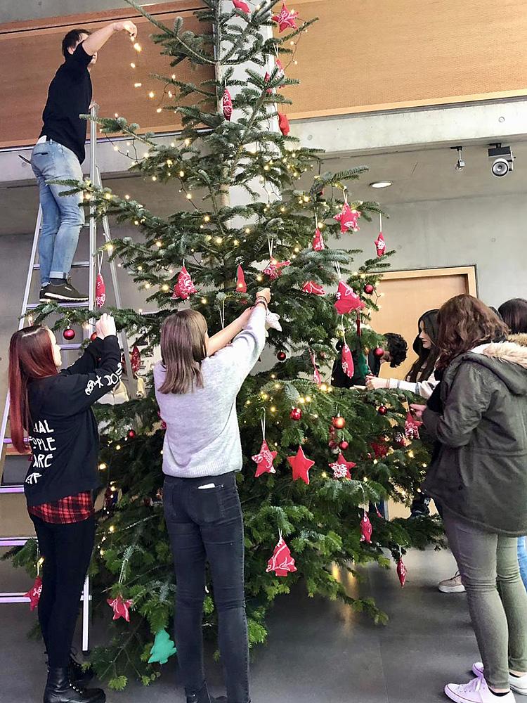Wann Wurde Der Geschmückte Weihnachtsbaum Populär.Realschule Kitzingen Leuchtender Weihnachtsbaum In Der Aula